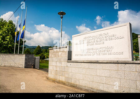 Potocari, Bosnia and Herzegovina - July 31, 2019. Entrance to the area of Memorial and cemetery for victims of 1995 genocide - Stock Photo