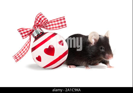 White Christmas ball with red hearts and a ribbon and black mouse, symbol of the New Year 2020 isolated on white background with shadows - Stock Photo