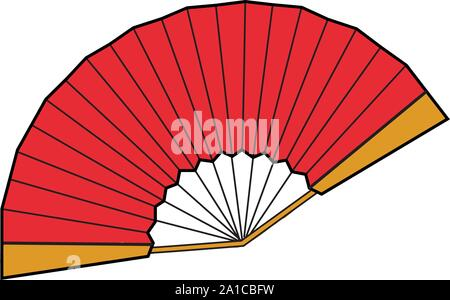 Red fan, illustration, vector on white background. - Stock Photo