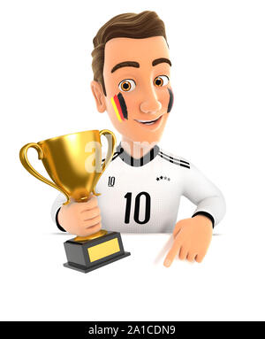 3d german soccer fan with trophy cup pointing to empty wall, illustration with isolated white background - Stock Photo