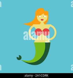 Mermaid, illustration, vector on white background. - Stock Photo