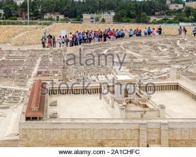Israel, Jerusalem District, Jerusalem, Israel Museum. Holyland Model of Jerusalem, scale model of Jerusalem in the Second Temple period. - Stock Photo