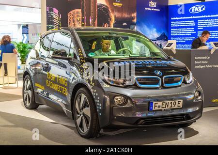 FRANKFURT, GERMANY - SEPT 2019: silver black BMW I3 electric, IAA International Motor Show Auto Exhibtion. - Stock Photo