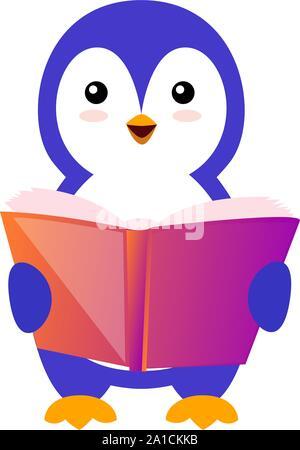 Penguin reading book, illustration, vector on white background.