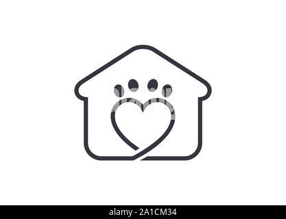Pets Home Vector Logo Template, Pet Home Logo Design Illustration, dog cat pet house home love logo vector icon, Pet House Logo,  pet care logo - Stock Photo