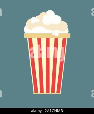 Popcorn, illustration, vector on white background. - Stock Photo