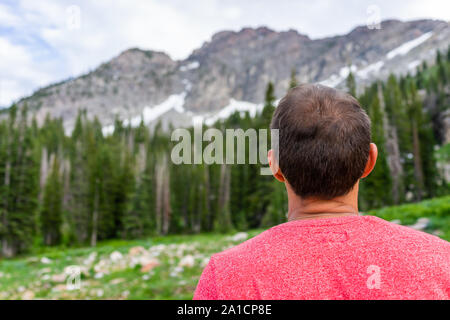 Albion Basin, Utah summer with closeup back of man hiker looking at snowy Wasatch mountains in background on trail to Cecret Lake - Stock Photo
