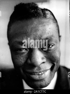 May 13, 1960 - London, England, United Kingdom - Close-up head study of Popular American singer NAT KING COLE on his arrival in London yesterday. Accompanied by his wife, he is on a seven country tour of Europe. (Credit Image: © Keystone Press Agency/Keystone USA via ZUMAPRESS.com) - Stock Photo