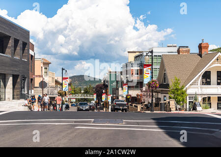Park City, USA - July 25, 2019: Ski resort famous town street in Utah during summer with downtown colorful historic buildings and cars - Stock Photo