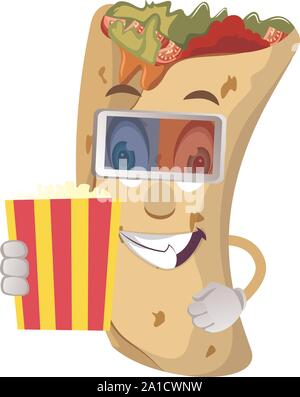 Burrito with popcorn, illustration, vector on white background. - Stock Photo