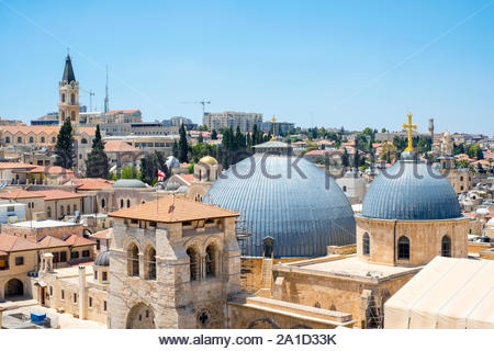 Israel, Jerusalem District, Jerusalem. Church of the Holy Sepulchre and buildings in the Old City. - Stock Photo