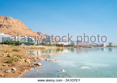 Israel, South District, Ein Bokek. The resort town of Ein Bokek on the Dead Sea. - Stock Photo