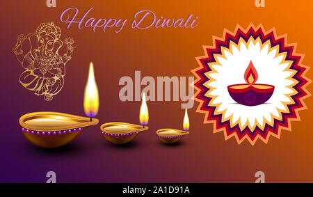 Template.design, illustration, of burning diya,  Lord Ganesha on Happy Diwali, Shubh Diwali meaning Happy Diwali with beautiful background - Stock Photo