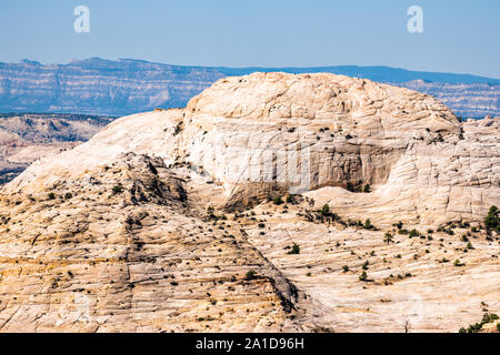 View of cliff butte mesa canyon formations on highway 12 scenic road byway in Grand Staircase Escalante National Monument in Utah summer - Stock Photo