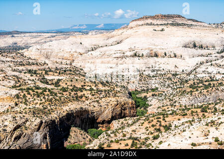 View of cliff butte mesa canyon formations landscape on highway 12 scenic road byway in Grand Staircase Escalante National Monument in Utah summer - Stock Photo