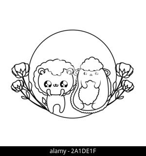 cute lion with sheep baby animals kawaii vector illustration design - Stock Photo