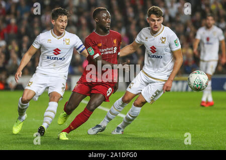 Milton Keynes, UK. 25th Sep, 2019. George Williams of Milton Keynes Dons, Naby Keita of Liverpool and Regan Poole of Milton Keynes Dons during the Carabao Cup match between MK Dons and Liverpool at stadium:mk, Milton Keynes, England on 25 September 2019. Photo by David Horn. Credit: PRiME Media Images/Alamy Live News - Stock Photo