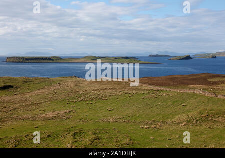 View from the north of Skye over the islands of Iosaigh and Mingay across the Little Minch to the Isle of Harris, Scotland, UK - Stock Photo