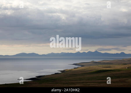 View from the top of Skye across the Little Minch to the Isle of Harris, Scotland, UK - Stock Photo