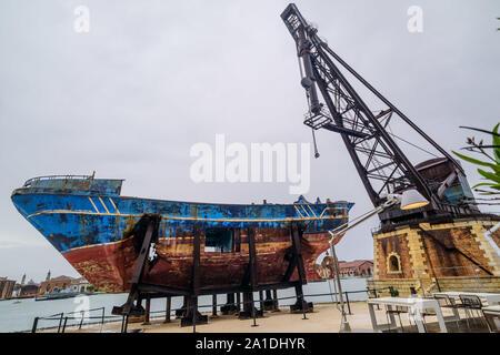 Venice, Biennale 2019, May You Live In Interesting Times; Christoph Büchel, 'Barca Nostra 2018-2019', '2250 x 710 x 860', 'Schiffswrack 18. April 2015