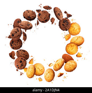 Round frame made of falling broken chip cookies isolated on white background - Stock Photo