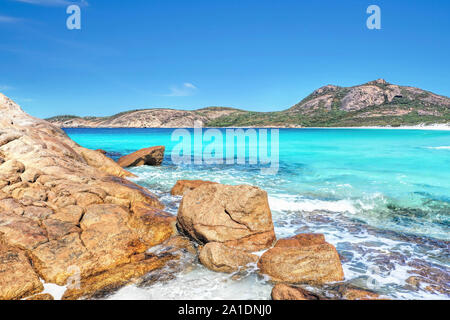 Aerial view of  turquoise beach in Western Australia - Stock Photo