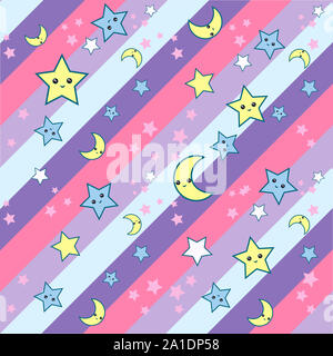 Seamless pattern with cartoon stars and moon cute kawaii muzzles in diagonal stripes back ground. can be used for fabric, wallpaper, stationery, packa - Stock Photo