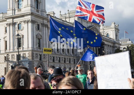 Westminster, London, UK. 25 September 2019. Remain and leave protesters demonstrate outside the House of Parliament.  MPs return to Parliament the day after the Supreme Court declared that Boris Johnson proroguing of Parliament was unlawful.  MPs debate in the House the outcome of the Supreme Court decision and the Prime Minister Boris Johnson faces questions from MPs. - Stock Photo