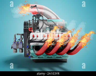 Modern powerful internal combustion engine with flame emissions side view 3d render on blue background with shadow - Stock Photo