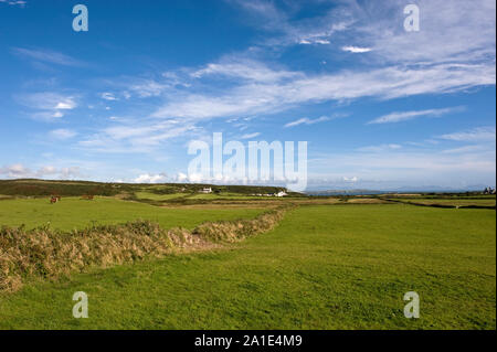 Sky and fields on Holy island, Anglesey, North West Wales. - Stock Photo