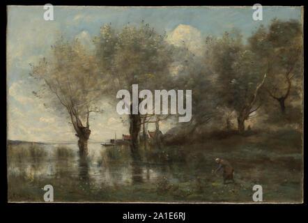 A Pond in Picardy,ca. 1867.jpg - 2A1E6RJ - Stock Photo