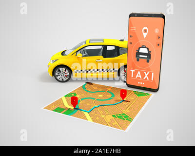 Taxi electric yellow with a call on the smartphone with a map route map 3d render on gray background with shadow - Stock Photo