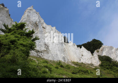 The spectacular white Mons Klint Denmark. A 6 km stretch of chalk cliffs along the eastern coast of the Danish island of Møn in the Baltic Sea. - Stock Photo
