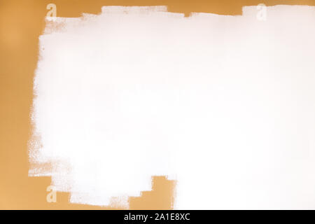 brown wall painted with white paint, copyspace on empty background - Stock Photo