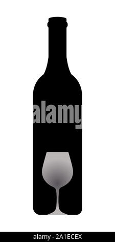 Bottle and glass of wine in black and white - Stock Photo