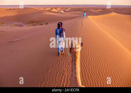 Two nomadic men dressed in traditional clothing lead a camel through sand dunes toward a tented camp in the Sahara Desert, Morocco. - Stock Photo