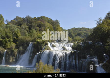 An image of the waterfalls at Skradinski Buk in Krka national park in Croatia - Stock Photo