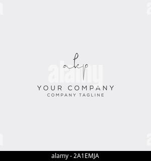 a k p initial handwriting logo template - Stock Photo