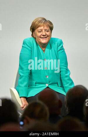 Hessen, Germany.  26 September 2019, Hessen, Frankfurt/M.: Federal Chancellor Angela Merkel (CDU) speaks at the Congress to mark the 70th anniversary of the Frankfurter Allgemeine Zeitung . 30 lectures from the departments of politics, economy, sports, arts pages, Rhine-Main and 'FAZ.NET' are planned. Photo: Thomas Frey/dpa Credit: dpa picture alliance/Alamy Live News - Stock Photo