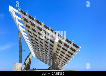 Giant solar power cell installation in the Forum area of the Olympic Harbour, Barcelona, Spain, - Stock Photo