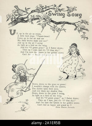 Victorian girls playing on a swing, the swing song - Stock Photo