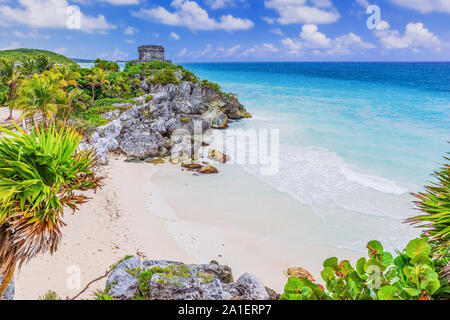 Tulum, Mexico. God of Winds Temple overlooking the Caribbean Sea. - Stock Photo