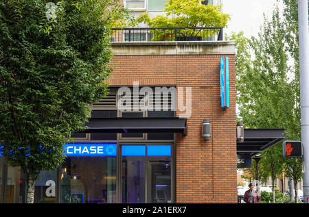 Seattle, WA/USA-6/15/19:  A Chase Bank branch,  Chase is a national bank that is a subsidiary of the U.S. holding company, JPMorgan Chase. - Stock Photo