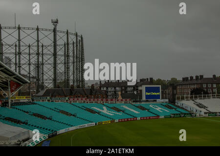London, UK. 26 September, 2019. Rain and bad light mean a delayed start at the Oval as  Surrey take on Nottinghamshire on the final day of the Specsav - Stock Photo