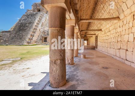 Uxmal, Mexico. Pyramid of the Magician in the ancient Mayan city. - Stock Photo