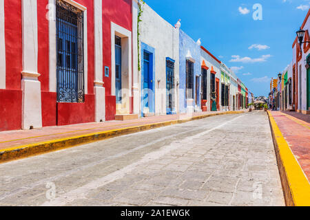 Campeche, Mexico. Street in the Old Town of San Francisco de Campeche. - Stock Photo