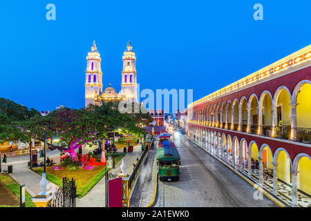 Campeche, Mexico. Independence Plaza in the Old Town of San Francisco de Campeche. - Stock Photo