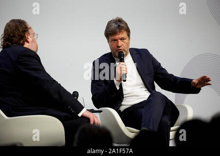 Hessen, Germany. 26 September 2019, Hessen, Frankfurt/M.: Robert Habeck (r), Federal Chairman of Bündnis 90/Die Grünen, speaks at the congress on the 70th anniversary of the Frankfurter Allgemeine Zeitung with publisher Jürgen Kaube. 30 lectures from the departments of politics, economy, sports, arts pages, Rhine-Main and 'FAZ.NET' are planned. Photo: Thomas Frey/dpa - Stock Photo