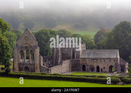 near Llangollen, Denbighshire, Wales, United Kingdom.  The Cistercian Valle Crucis Abbey or Valley of the Cross Abbey. Full name is Abbey Church of th - Stock Photo