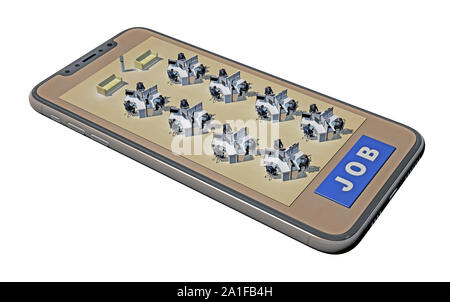 office tables on smartphone screen. 3d rendeing - Stock Photo